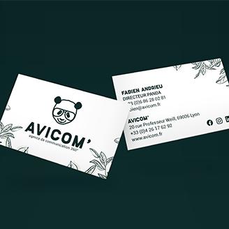 Création de cartes de visite personnalisées avec la charte graphique de l'entreprise - Agence de communication Lyon 6 AVICOM'